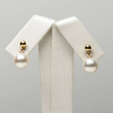 Round White Real Akoya Cultured Pearl Ear Drop Earrings 14k Yellow Gold 8.5-9mm