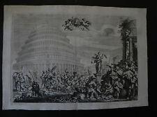 Torre di Babele Babel turris tower acquaforte 1700 Domenico Piola Hooftman