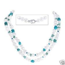 """HONORA COLLECTION  40""""in. Pearl Necklace with Gemstones, Turquoise & .925 Clasp"""