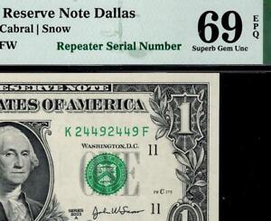 2003a $1 Dallas *REPEATER Federal Reserve Note FRN 1931-K PMG 69 EPQ TOP POP 3/0