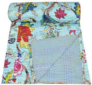 Indian Kantha Handmade Quilt Bedspread Reversible Throw 100% Cotton Floral Gudri