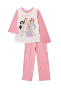 New Girls Disney Princess 2 pc Flannel Pajamas Set 4//5 Ariel Cinderella Belle