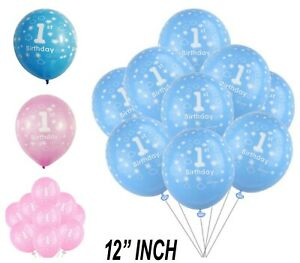 """1st Happy Birthday for Baby Boy & Girl 12"""" Printed Pink Blue Balloons Couple Luv"""