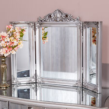 Silver Triple Dressing Table Mirror Modern Freestanding Bedroom Home Glass Chic
