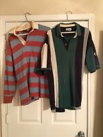 Lot of 2 Rugby and Striped Polos long-sleeve Authentic Size Larges Izod