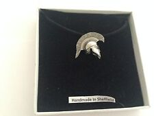 Greek Helmet GRH/PT Pewter Emblem ON A BLACK CORD Necklace Handmade