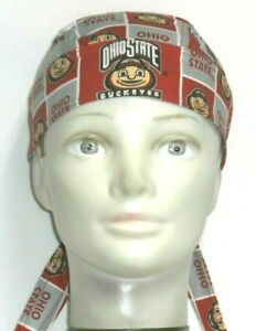 Skull Cap for Ohio State University Buckeyes on Red 100% Cotton #391 Handmade