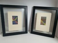 2 Scenry Abstract Original Colored Pencils Drawings By K Tanaka Signed Framed