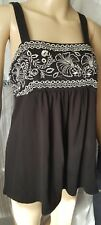HOT OPTIONS BLACK EMBROIDERED SLEEVELESS TOP SIZE 16