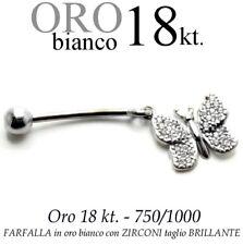 Piercing ombelico belly ORO BIANCO 18kt.a FARFALLA ZIRCONI taglio BRILLANTE