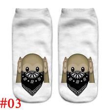 Lovely Women 3d Print Casual Emoji Socks Men Unisex Low Cut Ankle Cotton Socks #03
