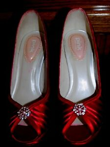 Pink Paradox-London sz.7  open toed High Heeled. Red Satiny pleated material