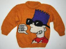 RARE Vtg 90s Hand Knit Bart Simpson Mohair Sweater Boys Lg/Womens 3/4 Sleeve