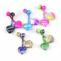 Fashion Body Stainless Colorful 5/10Pcs Piercing Navel Belly Steel Rings Women's