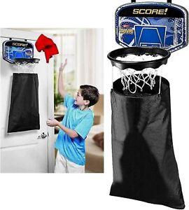 KIDS LAUNDRY BASKETBALL NET DOOR HAMPER HOOP CLOTHES BAG HANGING BASKET Game