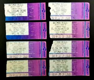 1992 Baltimore Orioles Ticket Stubs Lot of 8 First Year Playing in Camden Yards