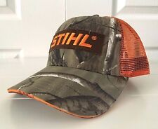 Stihl Realtree Camo Fabric with Orange Mesh Back Hat Cap STIHL logo Patch