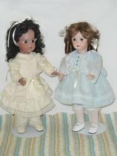 """Lot 2 Antique French Jumeau BRUJ BRU J All Bisque Lt Black & Fair Vtg 14"""" Dolls"""