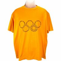 Vtg 84 Shelby County Special Olympics Mens XL Yellow T-Shirt Single-stitch Wolf