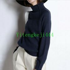 Fashion Cashmere Woolen Sweater Womens High-Collar Thickened Loose Pullover New