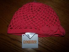 NWT GYMBOREE UNICORN GARDEN CORAL CROCHETED ROSETTE HAT GIRL 12-24 MO