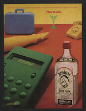 1982 BOMBAY Dry Gin - Retro Office Equipment & Rotary Telephone - VINTAGE AD
