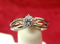 VINTAGE STARFIRE 14K TWO-TONE GOLD DIAMOND ENGAGEMENT RING SIZE 6.5