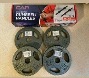 NEW CAP 30 lb Dumbbell Weight Lifting Plates Set (2) Handles (4) 5lb (4) 2.5lb