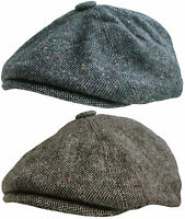 Mens Baker Boy Cap In Brown or Grey Country Style Gatsby Hat Newsboy Flat Cap