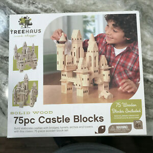 TREEHAUS CASTLE BLOCKS 75 PC WOODEN BUILDING SET, SOLID, ALL-NATURAL WOOD
