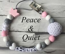 Personalised Dummy Clip💗Wooden🖤Dummy Chain💗crochet🖤metal💗Girl🖤crown💗 #MWP