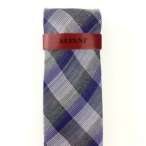 "New Alfani Recent Purple Plaid Silk/Viscose Slim Men's Tie Width: 2.75""  (D62)"