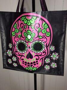 New XXL Sugar Skulls Day Of The Dead Shopping Bag Reusable Tote Bag - TJ Maxx