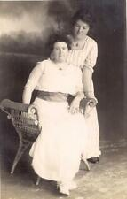 Girl Gazing Down Twin? Sisters Pose Wicker 1910s Photo Postcard PALATKA FLORIDA