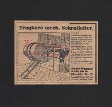 BERLIN, Werbung 1929, Georg Wagner Tragbare mechanische Schrotleiter