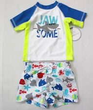 Koala Kids Baby Boys' Two-Piece JAW SOME Rush Guard & Swim Trunk Set 3-6M