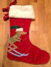 New Pottery Barn Kids~ Dasher ~Red Velvet Reindeer Skiing Stocking Sherpa SKI