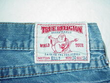 TRUE RELIGION WORLD TOUR BILLY JEANS Tag 34, actual size 37x31