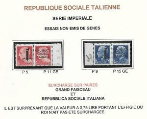 Italy stamps 1944 2 PROOF Pairs Genova printing NOT ISSUED MNH VF RARE!