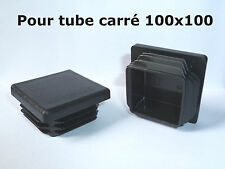 1 Bouchon embout pour tube carré plastique PVC NOIR 100x100 mm