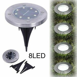8 LED Solar Power Ground Lights Floor Patio Garden Outdoor Lawn Path Light White