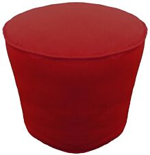 Round Pouf Cover With Piping Burgundy Footstool Ottoman Removable Cotton Cover