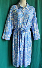 TALBOTS Blue Whie Floral Rayon Jersey Shirt Dress & Tie Belt 2X Stretch Career