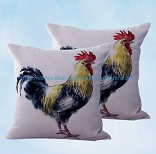 US Seller- set of 2 throw covers farmhouse animal rooster chicken cushion cover