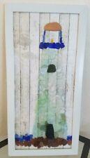 Genuine Sea Beach Glass Framed Lighthouse Hand Crafted