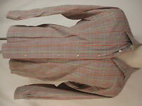 Ermenegildo Zegna Mens Beige Plaid Long Sleeve Cotton Shirt L Italy Made
