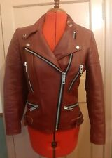 """Vintage WOLF LEATHERS cherry red 1980s motorcycle jacket size 34"""" VGC+ condition"""