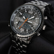 Herren Armbanduhr Analog Digital Uhr Schwarz blau Chronograph-Ziffernbeleuchtung