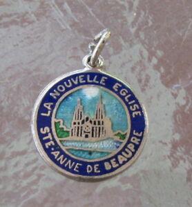 VINTAGE STERLING ENAMEL LA NOUVELLE EGLISE STE-ANNE DE BEAUPRE BRACELET CHARM