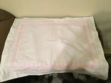 "Pottery Barn Kids White Pink Embroidered Standard Pillow Shams 26"" x 20"""